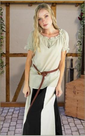Schlichte Bluse mit kurzem Arm - Lange Version