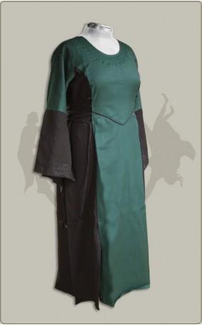 Besticktes Baumwollkleid mit Seitenschnürung Übergröße