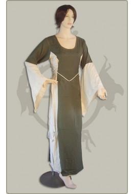 Besticktes Baumwollkleid mit Seitenschnürung