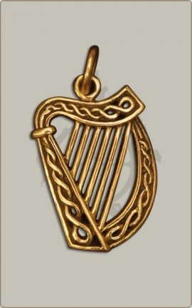 Keltische Harfe aus Bronze - groß