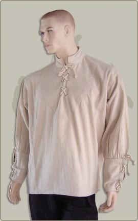 Baumwollhemd mit geschnürten Manschetten