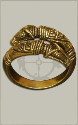 Drachenkopfring aus Bronze - Groß