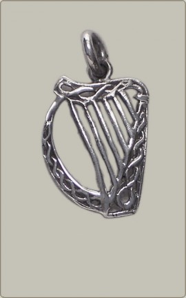 Keltische Harfe aus Silber, groß