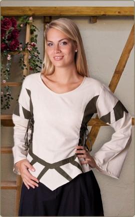 Zweifarbige Bluse mit Seitenschnürung