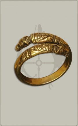 Drachenkopfring aus Bronze - klein